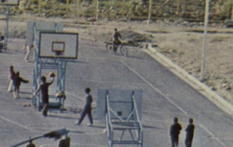 Old-time basketball court